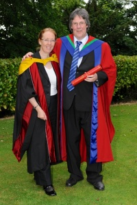 Hazel Hall and new PhD graduate Robert Irvine in June 2013