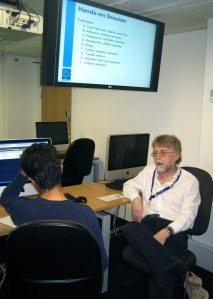 Fayaz Alibhai (L) and Brian Kelly (R) discuss social media for research