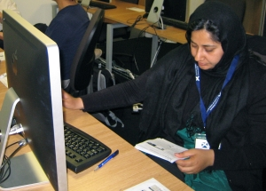 Saadia Ishtiaq Nauman works on the lab exercises