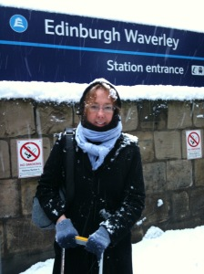 Setting off to Online 2010 in the snow