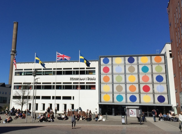 Union flags fly to mark the visit of British professors to the University of Borås