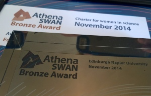 Athena SWAN bronze award certificate and trophy