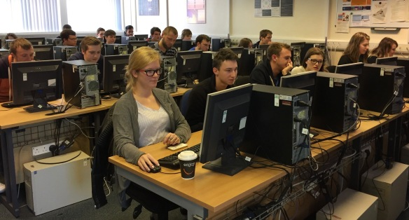 Female students take part in a lab in the School of Computing at Edinburgh Napier University