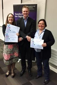 Professor Tom Jackson awards Frances Ryan and Iris Buunk their prizes