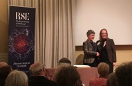 Dame Jocelyn Bell Burnell congratulates Hazel Hall on her RSE fellowship