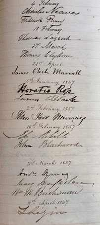 RSE roll book signatures 1856-57