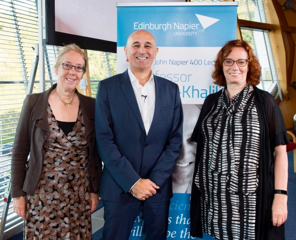 Professor Hazel Hall, Professor Jim Al-Khalili, and Dr Sandra Cairncross