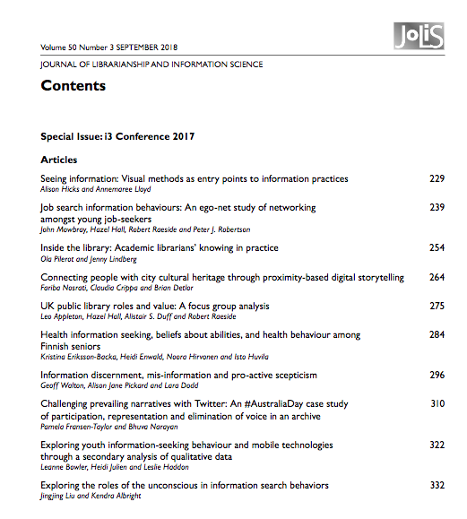 JoLIS #i3rgu special issue contents