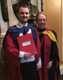 PhD graduate Dr John Mowbray with his Director of Studies Professor Hazel Hall