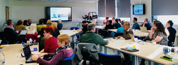 Professor Hazel Hall presents at the School of Computing research event, 9th January 2019