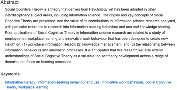 Social cognitive theory article abstract