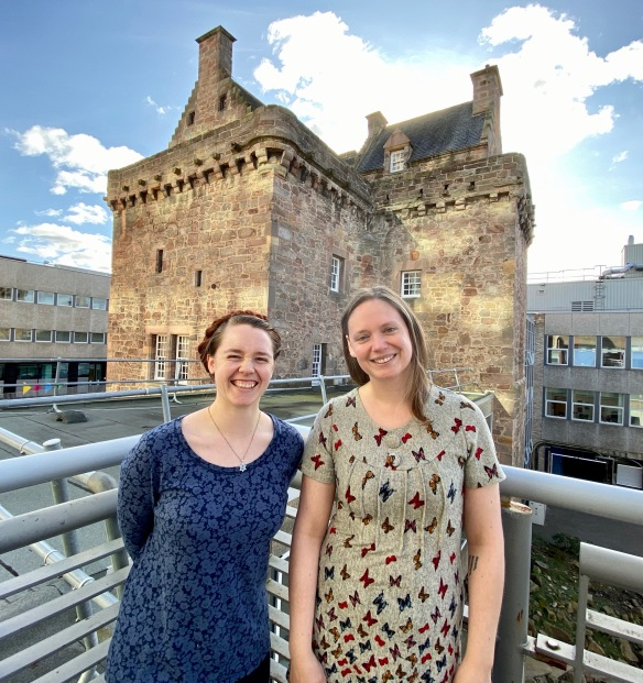 Rachel Salzano and Katherine Stephen at the Merchiston Tower
