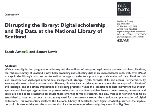 Disrupting the library: Digital scholarship and Big Data at the National Library of Scotland