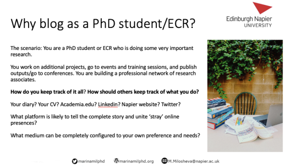 Why blog as a PhD student/ECR?