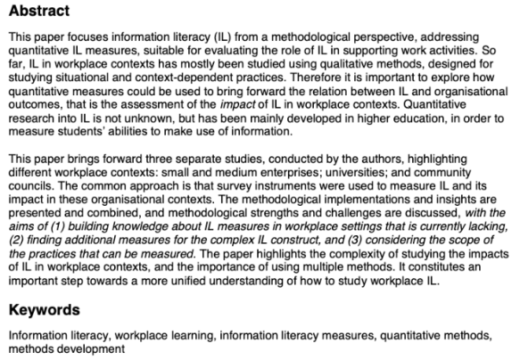 Workplace information literacy Measures and methodological challenges abstract