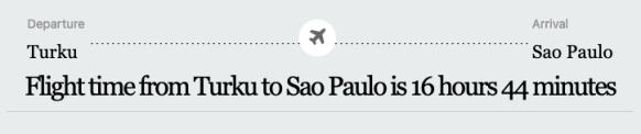 shortest flight time São Paulo Brazil Turku Finland