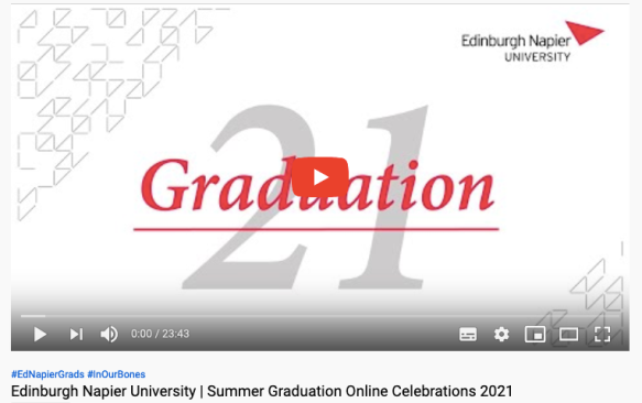 Edinburgh Napier University graduation video July 2021