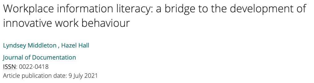 Middleton Hall workplace information literacy innovative work behaviour behavior article header