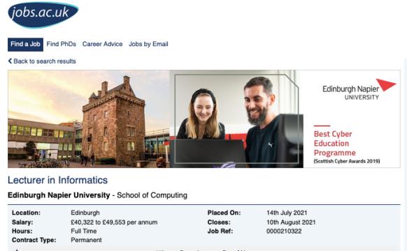 Vacancy lecturer in informatics Edinburgh Napier University 2021