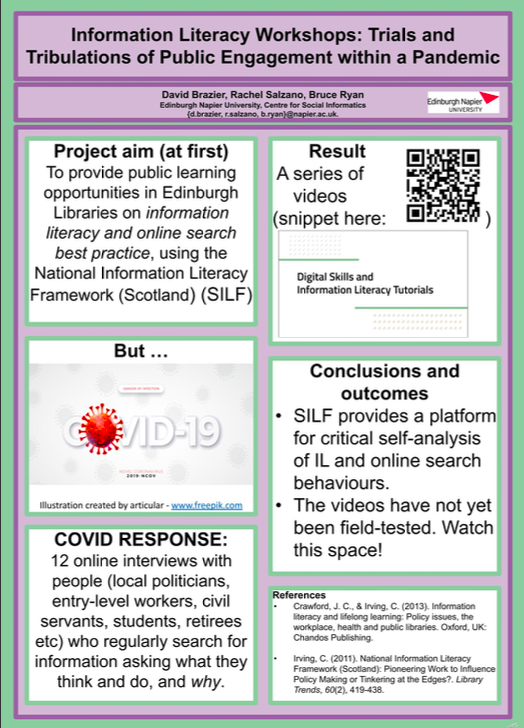 Information Literacy Workshops: Trials and tribulations of Public Engagement within a pandemic poster