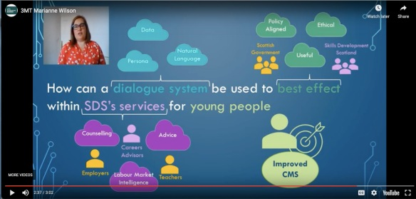 Natural language interfaces to support career decision-making of young people Marianne Wilson TMT three minute thesis